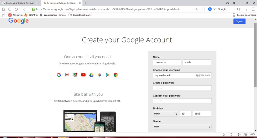 gmail reg page