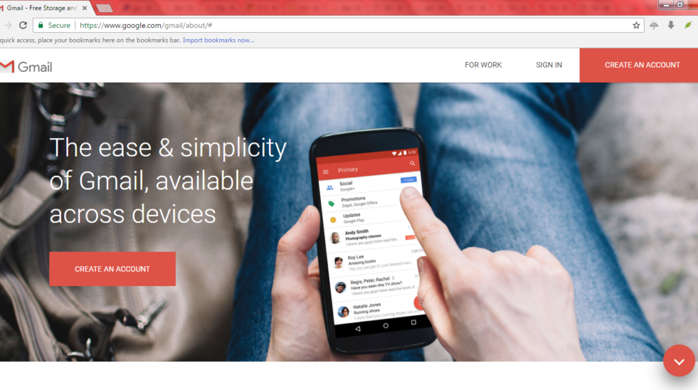 gmail home page