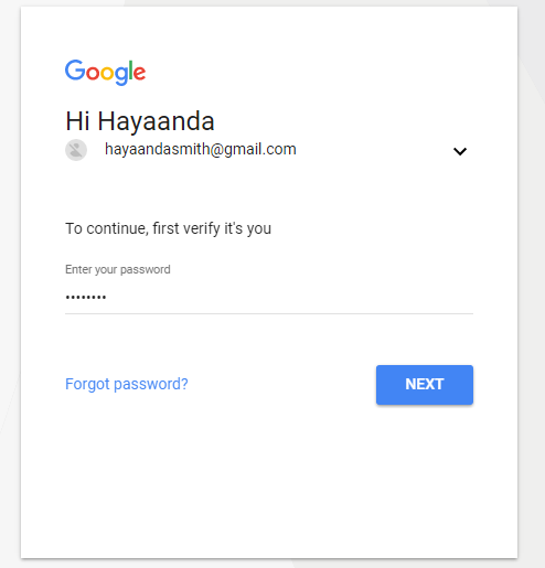 login gmail account password page