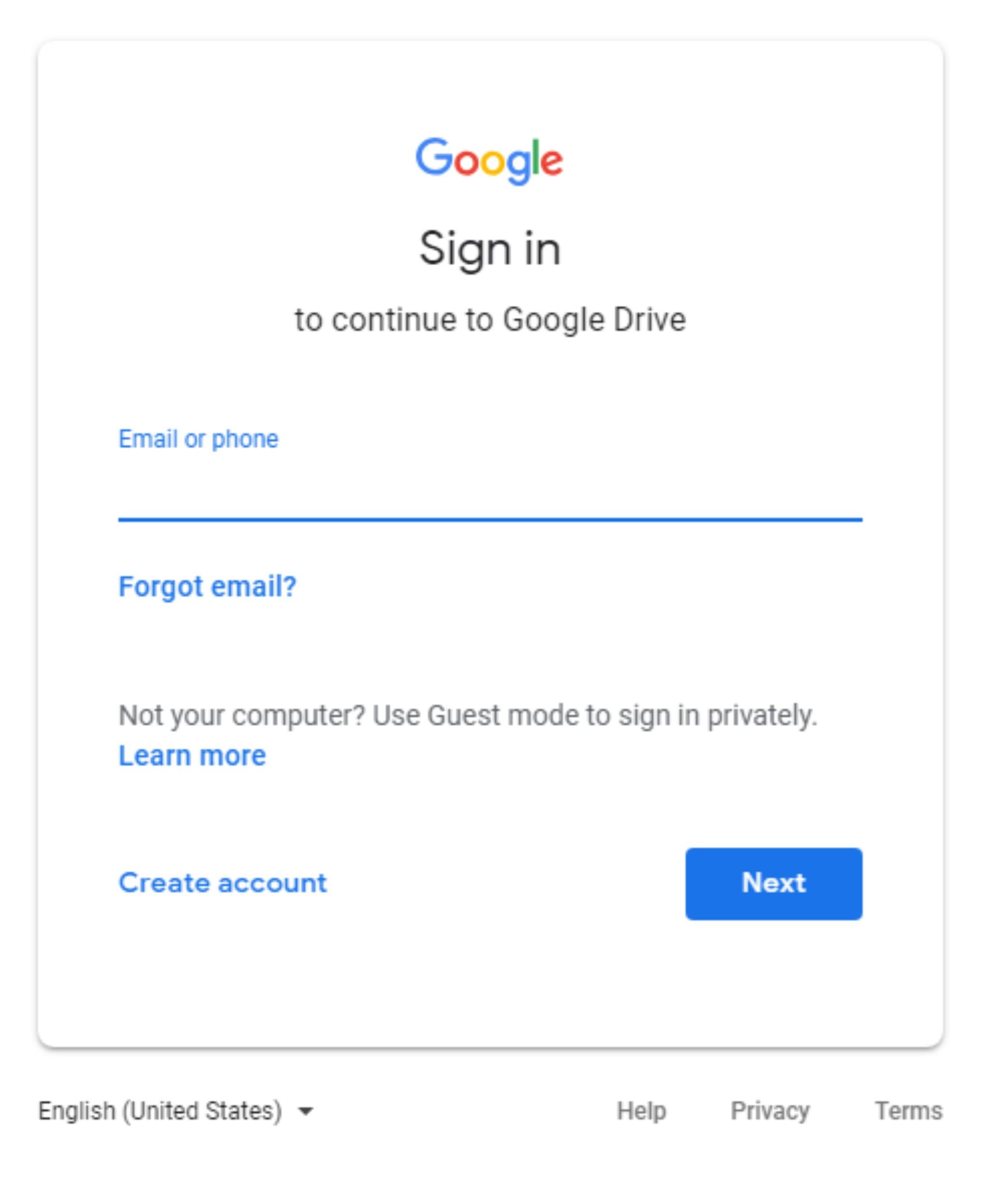 google drive log in